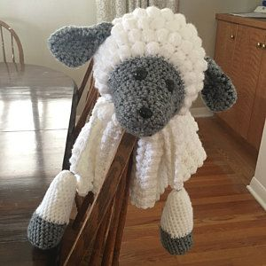 0dc7c9b65f0a2 3 in 1 Cuddly Sheep Baby Toy Security Blanket Lovey Crochet Pattern ...