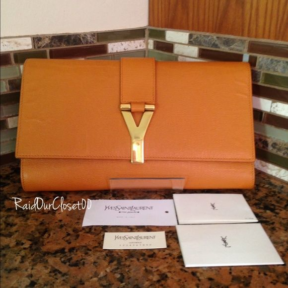 Ysl clutch Orange/brown color. Yves Saint Laurent Bags Clutches ...