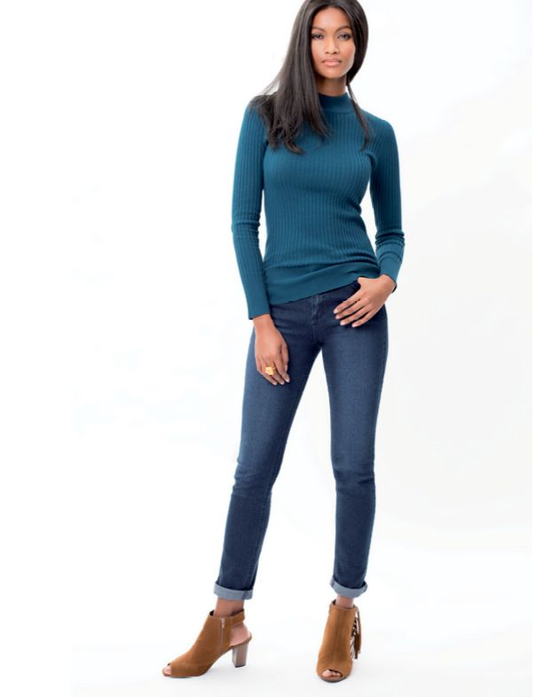 Slim leg jeans work well dressed up or down and are a good all- rounder. Wear them with heels or ankle boots, paired with a dressy T-shirt.