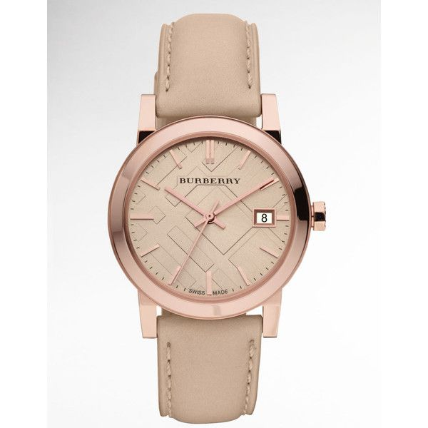 Burberry Ladies' Rose Gold Watch With Tan Leather Strap ❤ liked on Polyvore