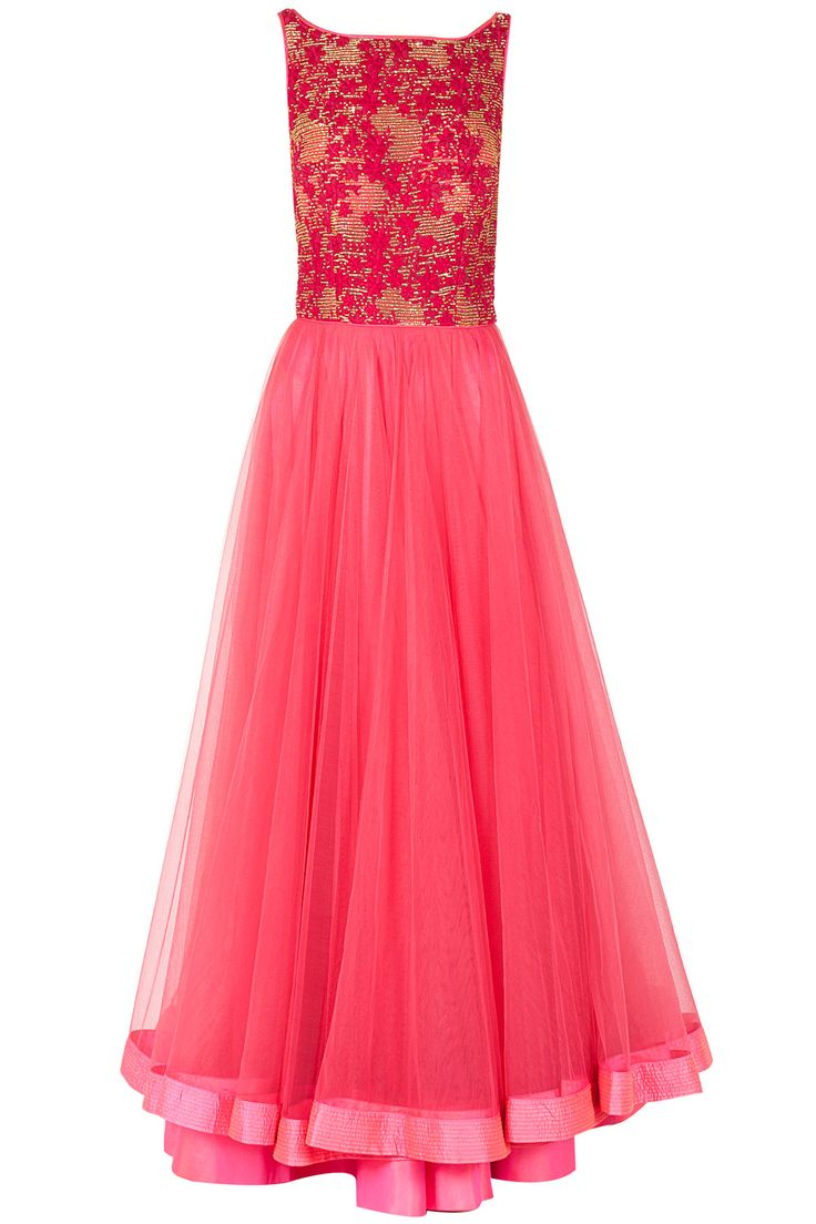 Pink japenese bugle bead embroidered anarkali available only at Pernia's Pop-Up Shop.