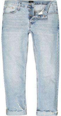 River Island MensLight blue raw hem casual jeans