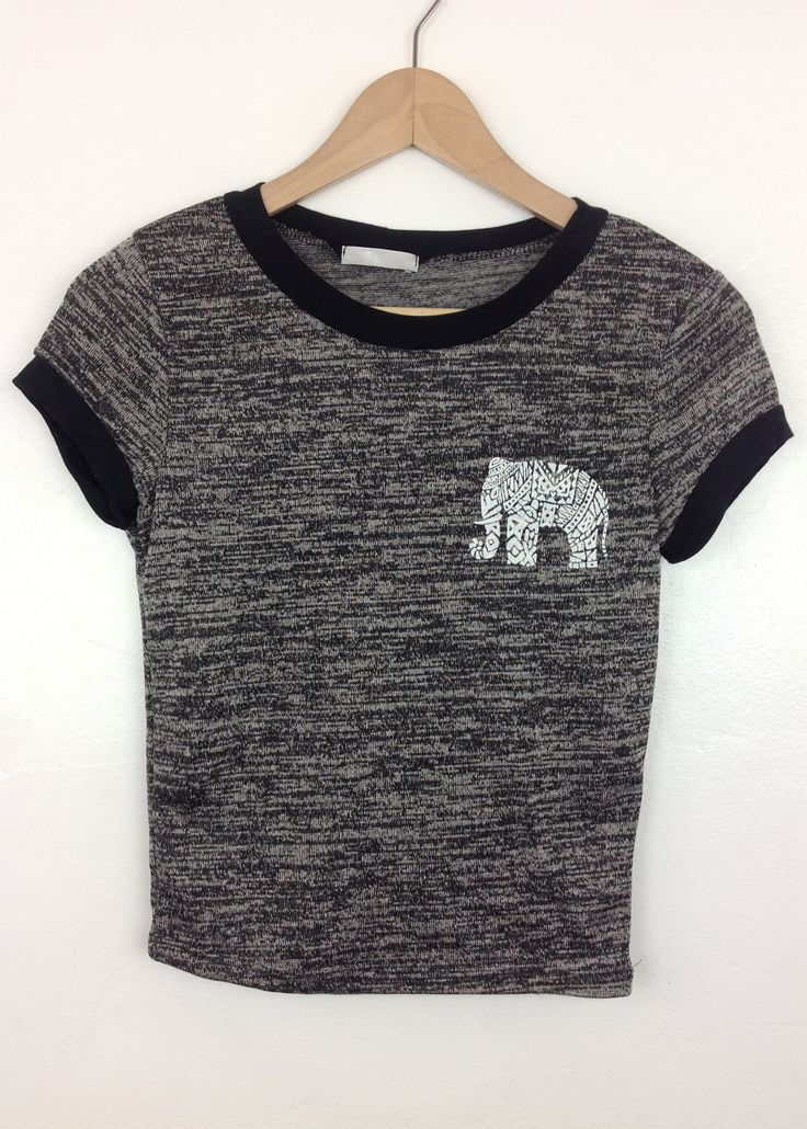 black elephant graphic band contrast crop top