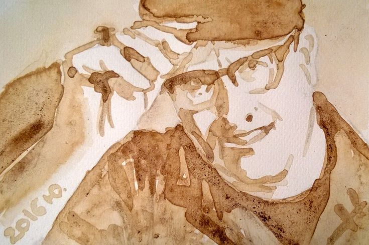 Rock and roll man watercolor with coffee 15x10 cm