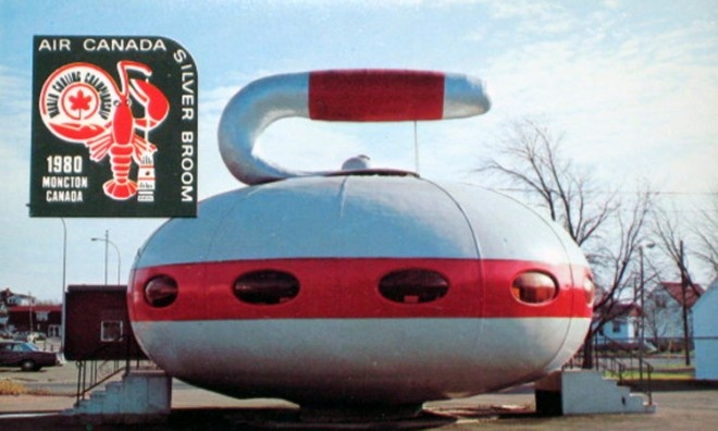 """We found another photo of the famous """"Pizza Saucer""""  that became a curling stone in the 1980′s."""