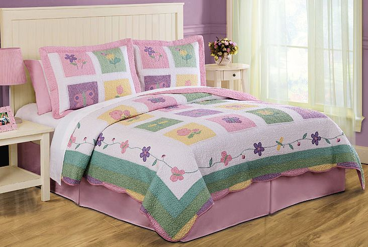 pink butterfly bedroom butterfly meadow bedding quilt set floral 12858