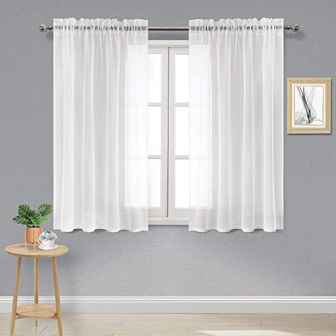 Amazon Com Dwcn White Sheer Curtains Linen Look Rod Pocket Kitchen Curtains Set Of 2 Panels 5 Curtains Voile Curtains Living Room Window Curtains Living Room