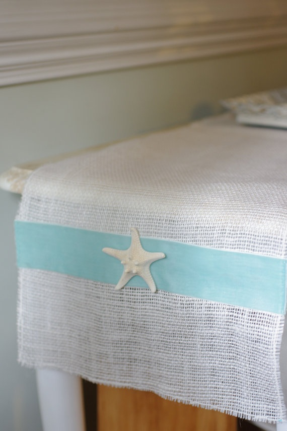Beach Decor White Burlap Table Runner With By ByTheSeashoreDecor.... You  Could Make