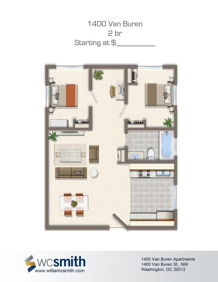 2 Bedroom Floor Plan   1400 Van Buren Apartments in Northwest Washington DC    WC Smith. 72 best images about Washington DC on Pinterest   Parks