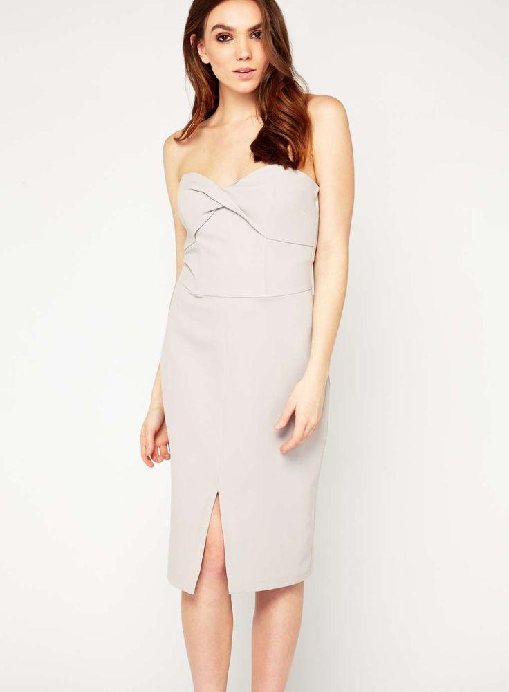 Miss Selfridge twist bandeau dress in grey, £42.00, Miss Selfridge (www.missselfridge.com).