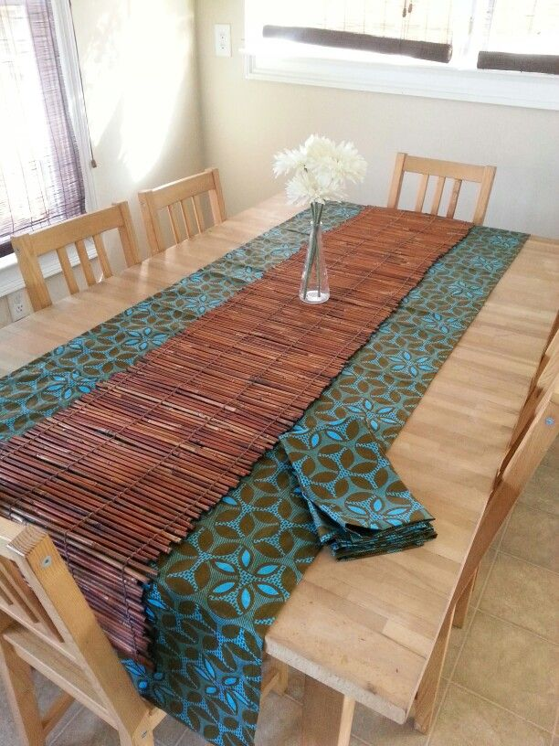 African fabric table runner and cloth dinner napkins.