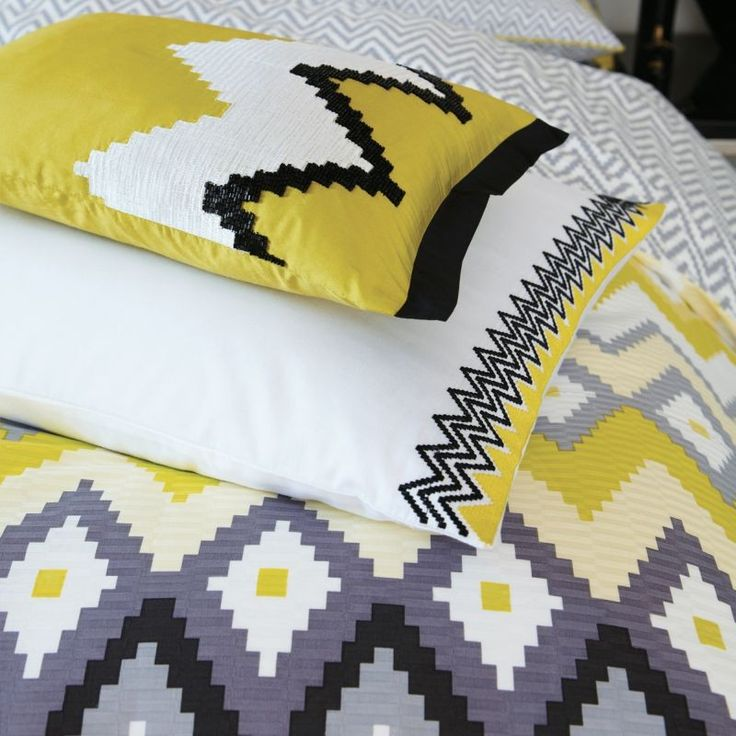 Altuza Yellow and Grey Bedding | Contemporary Bed Sets at Bedeck Home