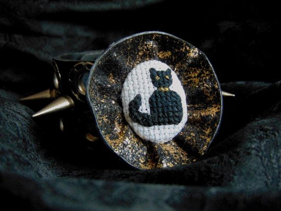Hand embroidered brooch Black Cat with black and gold fringing.
