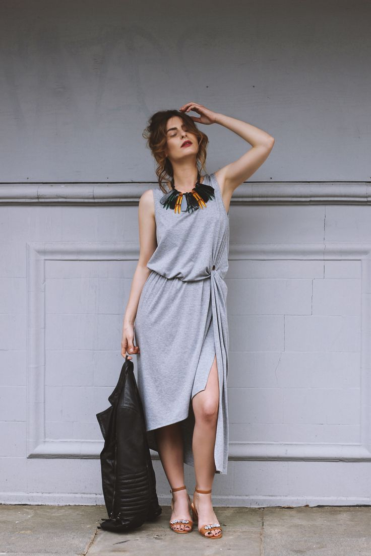 grey wrapped dress