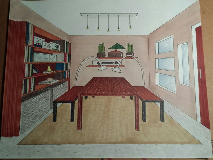 One Point Perspective Living Room (Letraset Twin-Tip ProMarkers) #interiordesign #perspective #promarker