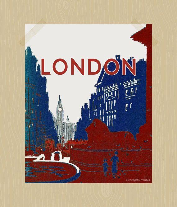 Trafalgar Square London Print Travel Printable Big Ben 8 x 10 British Lion Red London Bus Print Union Jack Colors Navy Red White
