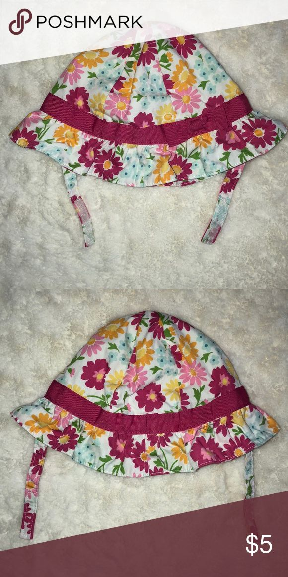 Cute Baby girl sun hat Floral print baby girl size 6-12 months sun hat. Perfect for spring or summer! Velcro's under chin. Gymboree Accessories Hats