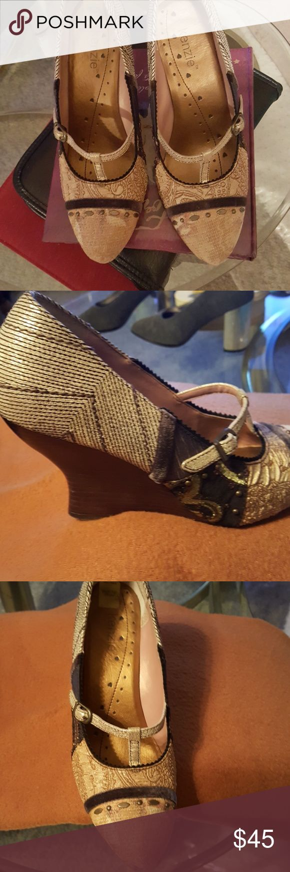 Shoes Super stylish ladies shoes with wedge wooden polished heel. Excellent condition. Worn twice. No Nick's, or scratches. Fabric brocade, brass stones, velvet strap across top, brass buckle. Very nice. I've been holding on to these shoes because I love them. Somehow my feel enlarged half size. I wear 9.5 now instead of 9. I've got 70 more pair shoes I have to sell. 😣. You will love these shoes. kenzie Shoes Heels