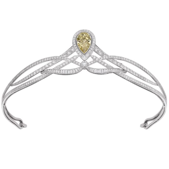 Chaumet Joséphine Collection -  Pear-cut fancy yellow diamond with brilliant- and baguette-cut diamonds set in platinum