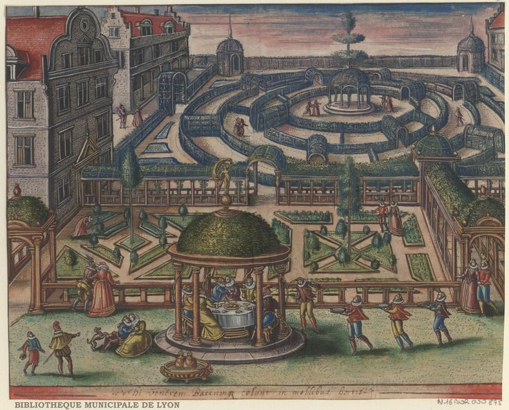 A dinner in the gardens by Peeter van der Borcht, 16th century. Bibliothèque Municipale De Lyon, Public Domain