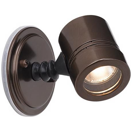 Myra Collection Bronze Outdoor Halogen Spotlight...something like this in brushed stainless would be nice in the back...there are a lot of them that are up/down but not so many options for directional.  I'm sure we can find one somewhere.