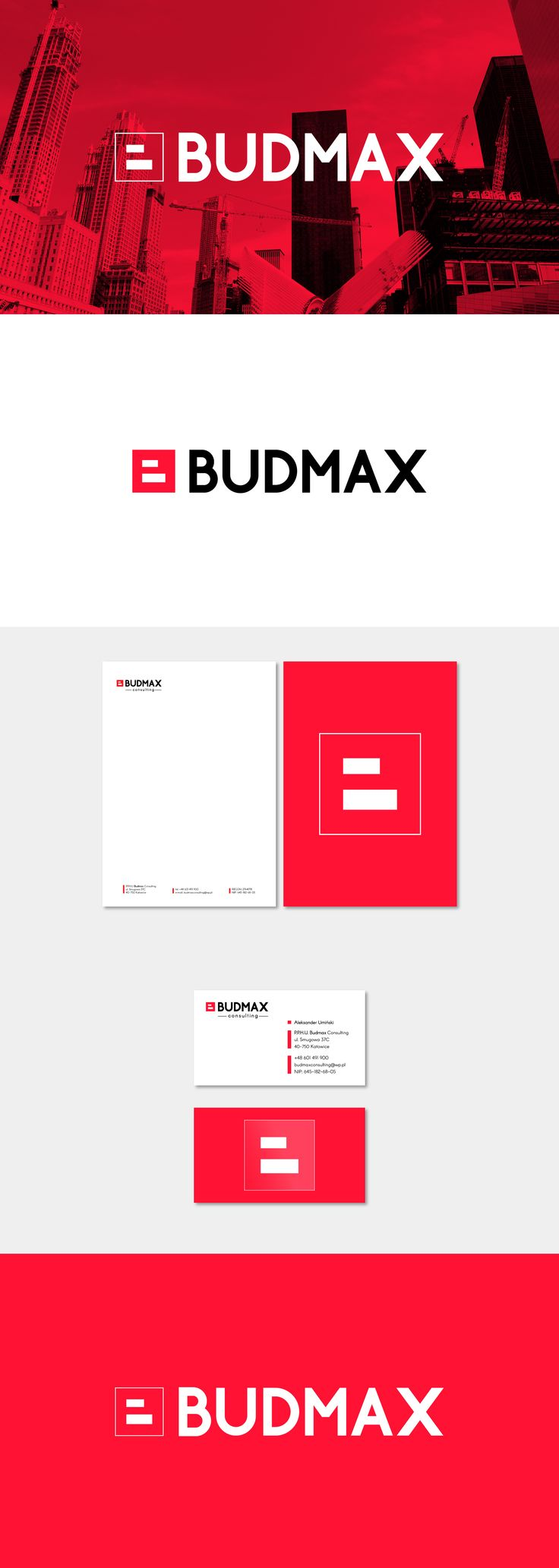Budmax is a consulting company with extensive experience in construction market. We developed for Budmax new Brand Identity which contains Logo and Stationery design. Simple and strong sign, complemented by a strong typeface gave the company a dynamic, modern soul and highlights the strong market position.