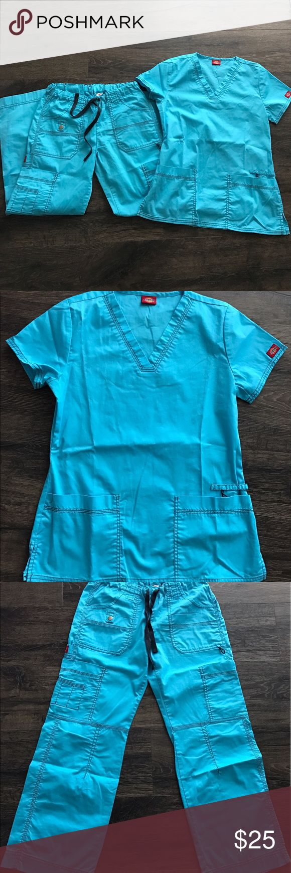 Dickies Women's V-Neck Top & Cargo Pant Scrub Set Size X-Small Icy Turquoise dickies v-neck top & Cargo pant set. Pants are Petite, doesn't have tags, no stains. Dickies Tops