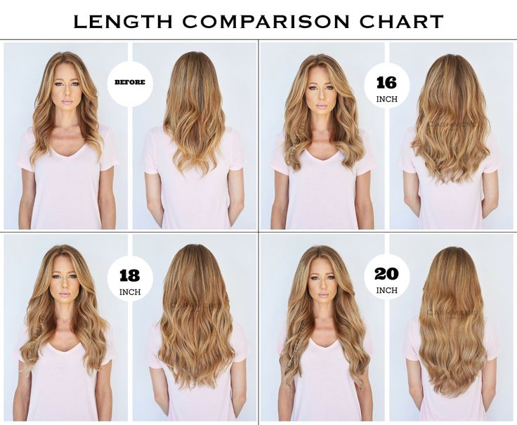 Chart of the different lengths of Clip In Hair Extensions, 16 inches, 18 inches, 20 inches, 22 inches, and 24 inches. How to choose the right length for you