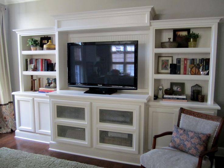 Custom built in shelves bookcase entertainment center for Media center with bookshelves