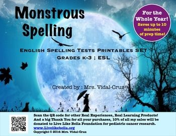 From my classroom to yoursreal experiences, real learning.Monstrous Spelling is the English Spelling Test Printable Set for the Whole School Year, great for your weekly/bi-weekly or monthly spelling evaluations.  It was taking so long for my first and second graders to set up their papers before a spelling test,  that I created this document.