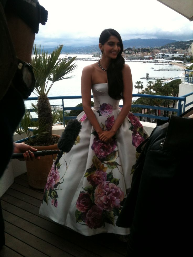 Sonam Kapoor giving her interview at the Martinez terrace, Cannes 2013!