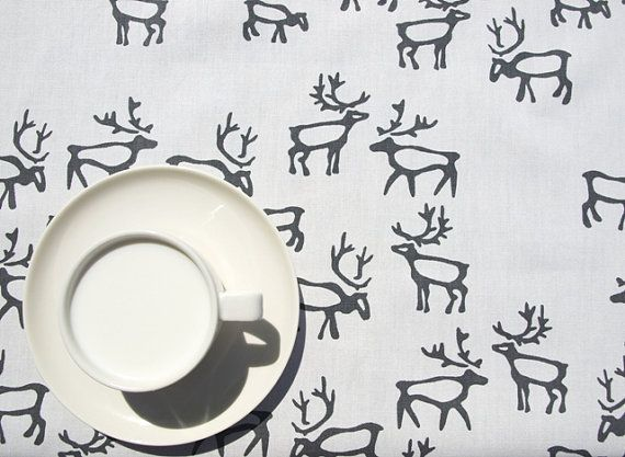 Christmas Tablecloth White Grey Deers by Dreamzzzzz