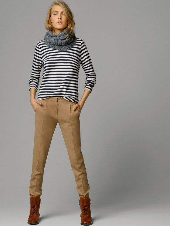 Fall stripes and sand colored pants Massimo Dutti | - MINIMAL ...