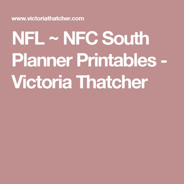 NFL ~ NFC South Planner Printables - Victoria Thatcher