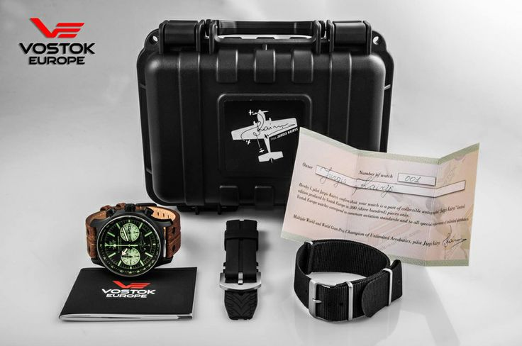Vostok-Europe Limited Edition for famous pilot Jurgis Kairys. Chronograph in its dry box with the extra straps #VostokEurope #watch #pilot #aviation #chronograph #automatic