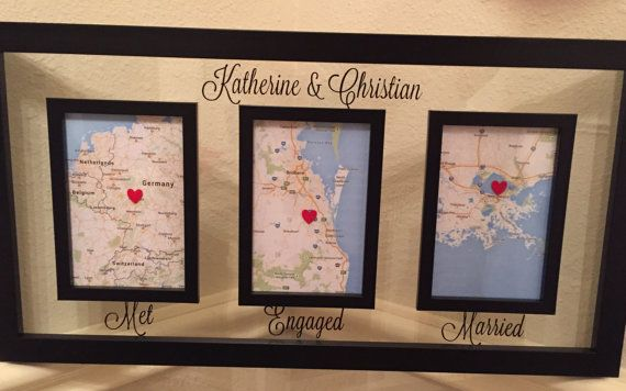 Love Story Map Met Engaged Married Frame by VaughnVisualCreation