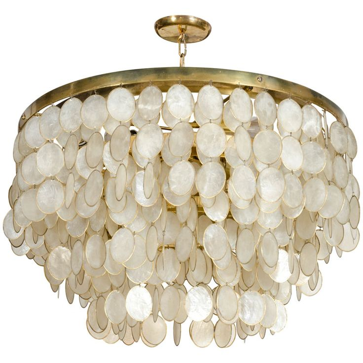 Captivating Capiz Shell Chandelier | From a unique collection of antique and modern chandeliers and pendants  at http://www.1stdibs.com/furniture/lighting/chandeliers-pendant-lights/