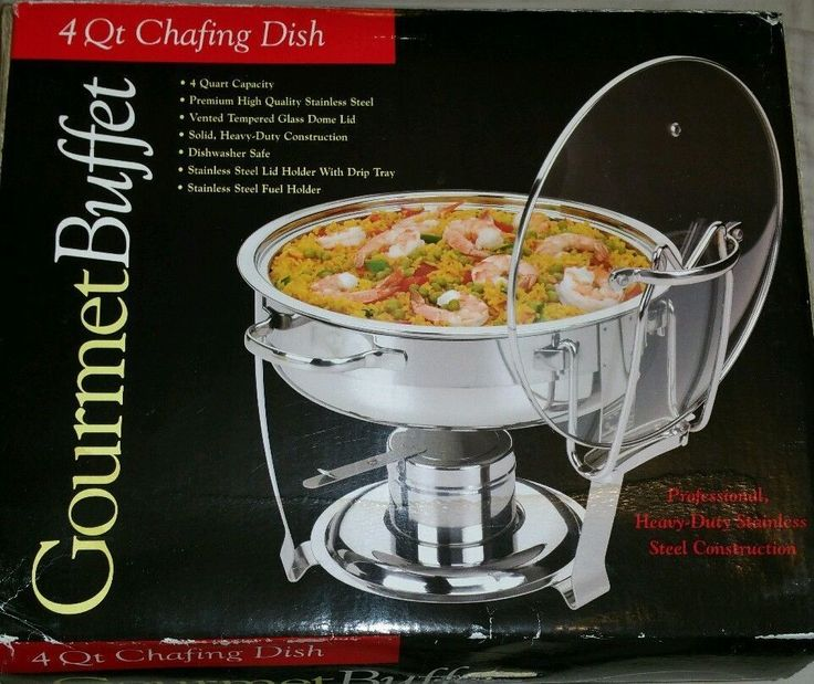 4 Qt. Chafing Dish Glass Lid Gourmet Buffet Holder & Drip Tray Stainless Steel  #Gourmet