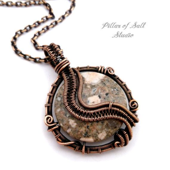Wire Wrapped pendant / brown kiwi stone / by PillarOfSaltStudio