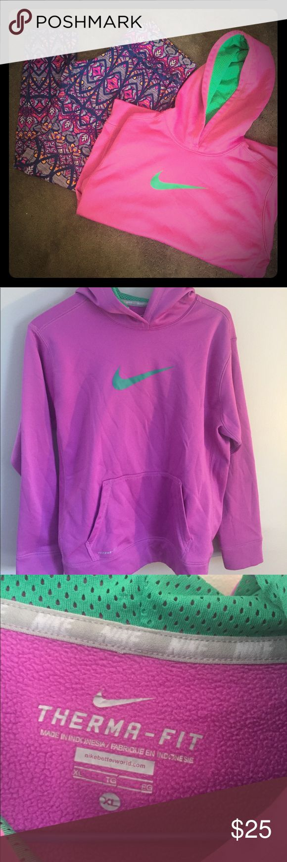 Women's Nike Therma-Fit Hoodie Women's Nike Therma-Fit Hoodie Pink and Green Color  Size XL Kangaroo Pocket  Great Condition Nike Tops Sweatshirts & Hoodies