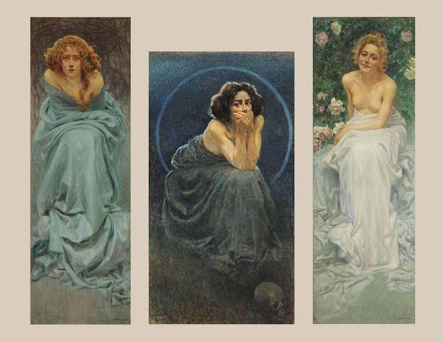 Giorgio Kienerk (1869-1948), L'Enigme Humaine - La Douleur, Le Silence et Le Plaisir - 1900
