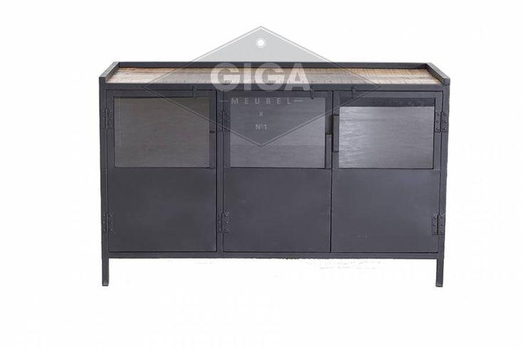 Dressoir 3 drs industrieel met houten top