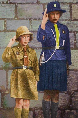 A fan of uniform from an early age, Queen Elizabeth II was an avid girl guide in the 1930's.