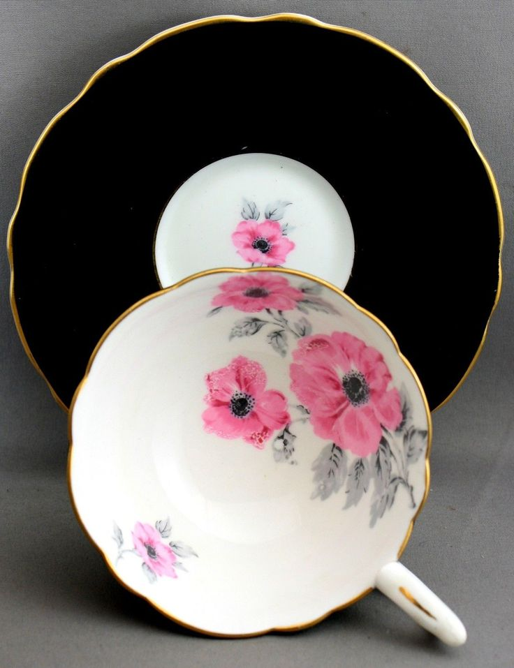 ROYAL Stafford Teacup & Saucer-Black/gold/pink Wild Roses  L 125 - CAD $16.24. This teacup is as seen in photos. This teacup is in good condition, no cracks or chips. Please scan all photos for complete condition. If you purchase multiple items we will combine the items to save you money on the shipping, please wait to pay for the items till we send you a combined invoice. CANADIAN BUYERS PLEASE READ CAREFULLY #1: You must Email your Postal Code so I can calculate the shipping ...