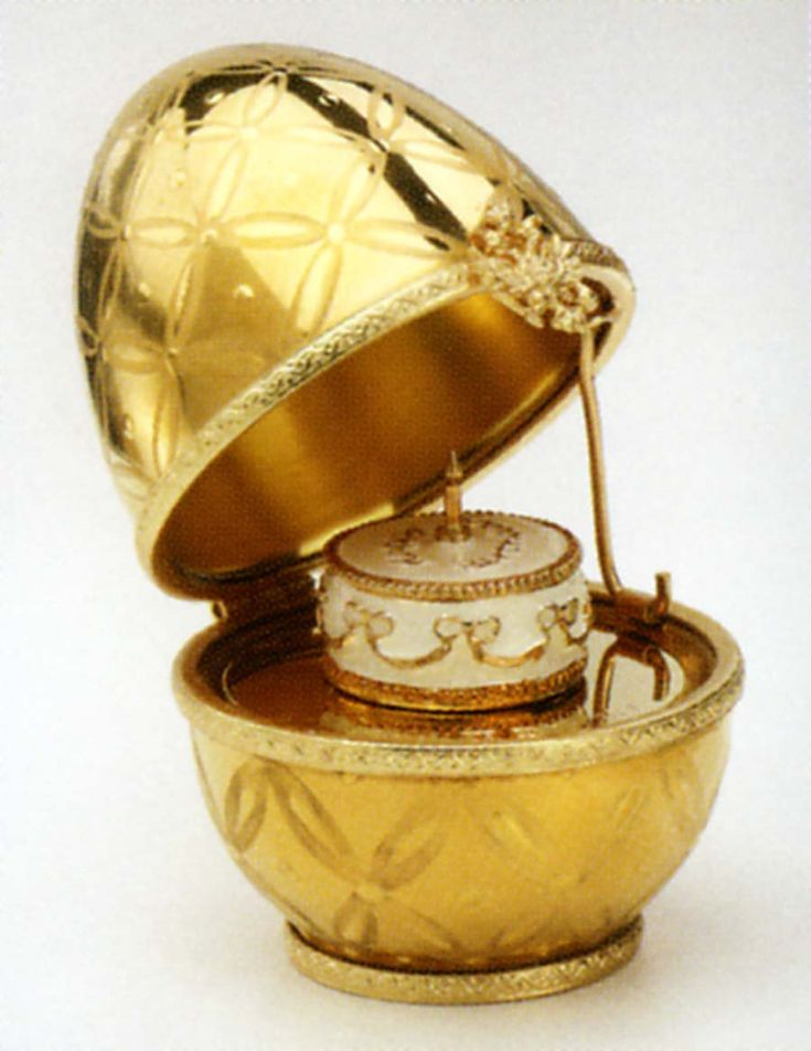 "Imperial Golden Birthday Egg :: Imperial Golden Birthday Egg. These precious petite Faberge eggs (2.5"" height) are handcrafted in Limoges, France. In the centuries old Faberge egg tradition, they each carry a 24K gold-plated surprise to celebrate special moments or occasions. Each egg is signed, numbered, and exquisitely packaged in a blue Faberge giftbox with satin lining."
