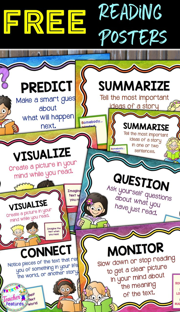 These FREE reading comprehension posters focus on the Super Six strategies. (Rainbow Theme) *This set of 6 posters includes American & British spellings. Get your comprehension on with Super Six Comprehension posters.