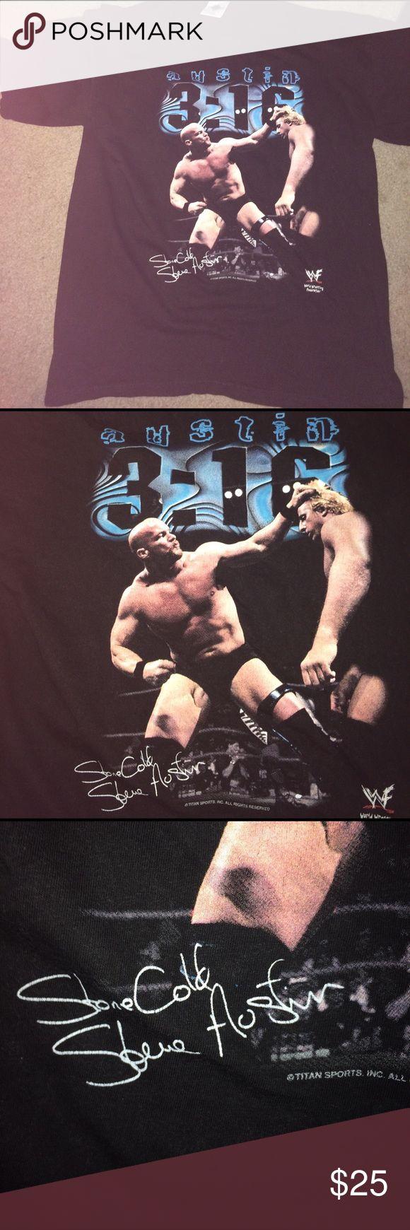 Men's Autographed Stone Cold Steve Austin Size L Men's Autographed Stone Cold Steve Austin Wrestling T Shirt Perfect Condition!! Tour Champ Shirts Tees - Short Sleeve
