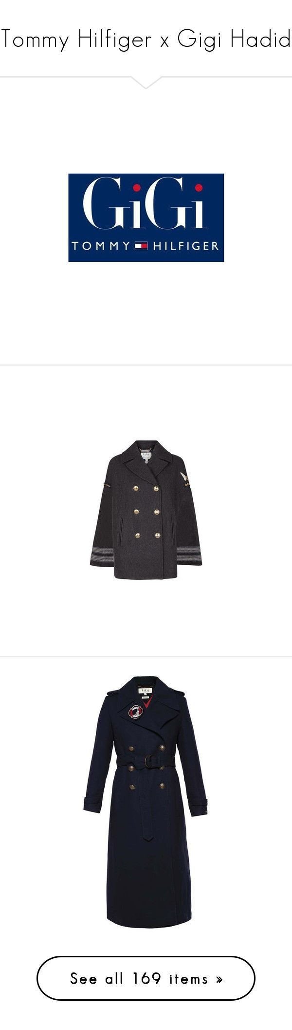 """""""Tommy Hilfiger x Gigi Hadid"""" by angelbrubisc ❤ liked on Polyvore featuring logos, backgrounds, sfondi, outerwear, coats, jackets, double breasted cape, military cape coat, military style coat and double breasted coat"""