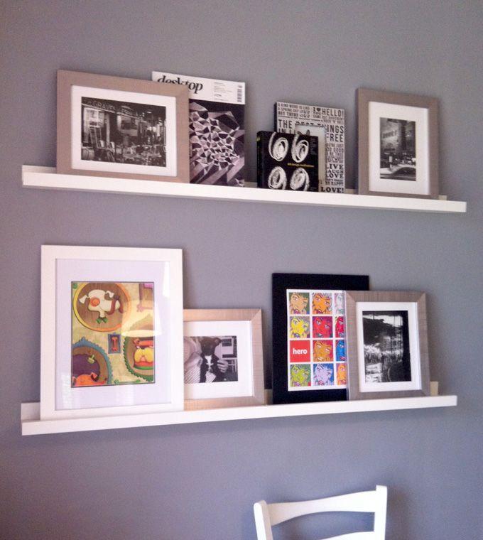 White photo ledge shelf grey wall artwork for Wall shelves and ledges