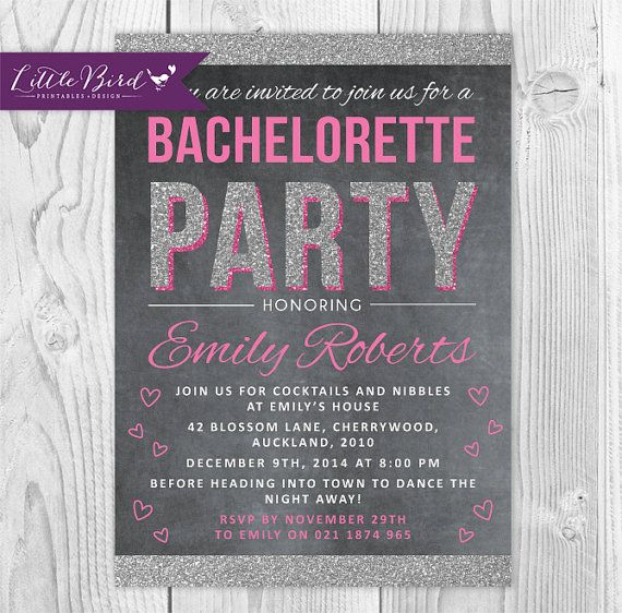 Baby pink bachelorette party invitation. Chalkboard and glitter <3